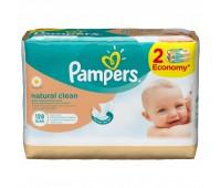 4015400637028. PAMPERS Детские влажные салфетки Natural Clean Сменный блок 2Х64 ПрепакКороб