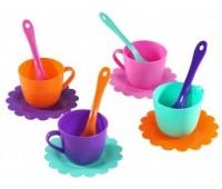 Ромашка, набор посуды 12 предметов, (розовый, бирюзовый, оранжевый, фиолетовый). Тигрес