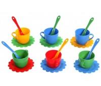 Ромашка Люкс, набор посуды 18 предметов, (красный, синий, желтый, зеленый). Тигрес