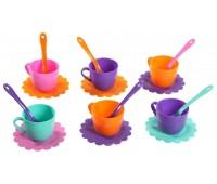 Ромашка Люкс, набор посуды 18 предметов, (розовый, бирюзовый, оранжевый, фиолетовый). Тигрес