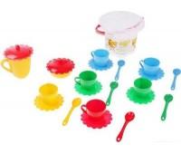 Ромашка, набор посуды с желтым чайником в ведерке, 23 предмета. Тигрес