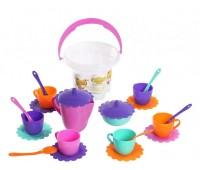 Ромашка, набор посуды с розовым чайником в ведерке, 23 предмета. Тигрес