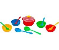 Ромашка, набор столовой посуды 12 предметов, с красной кастрюлей. Тигрес