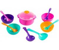 Ромашка, набор столовой посуды 12 предметов, с розовой кастрюлей. Тигрес