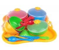 Ромашка, набор столовой посуды 19 предметов, с красной кастрюлей, Тигрес
