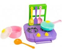 Набор игрушечной посуды столовый Ромашка с плитой фиолетовой, 7 элементов, Тигрес