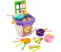 Ромашка, набор игрушечной посуды столовый с фиолетовой плитой, 25 элементов, Тигрес