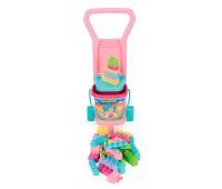 Детская тележка розовая с конструктором и ведерком, Wader