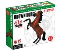 Скачущая коричневая лошадь - объемный конструктор, 4D Master