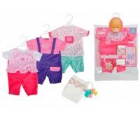 Комбинезон с фиолетовыми штанишками и аксессуары для пупса 38-43 см, New Born Baby, Simba