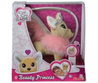 Собачка Чихуахуа Фэшн Принцесса красоты в меховом манто с тиарой и сумочкой, 20 см, Chi Chi Love