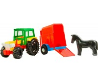 Трактор с прицепом (красный прицеп с лошадкой), Wader