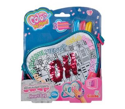 Сумочка-раскраска в форме сердца Хамелеон, кожзам, 3 маркера, Color Me Mine