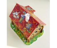 Игровой набор Изба красная с героями, Сборная модель из картона, Умная бумага