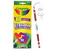 Цветные карандаши со специальными ластиками (10 шт), Crayola