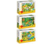Пазлы Серия Т (Домашние животные, Лесные животные, Животные джунглей), 3 по 56 эл., Energy Plus
