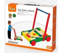 Ходунки-каталка Тележка с кубиками, Viga Toys