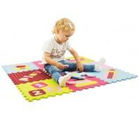 Детский коврик-пазл Интересные игрушки, розово-зеленый, (9 эл.), Baby Great