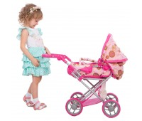Коляска Mary 2 в 1 с люлькой для куклы, розовая, Todsy