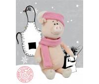 Свинка Аша с шарфом и шапкой, 28 см, Maxitoys Luxury