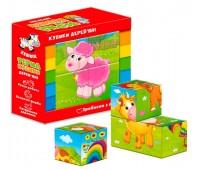 Деревянные кубики Ферма (укр), Vladi Toys