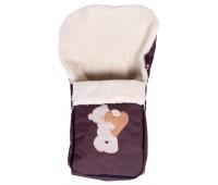 Зимний конверт Qvatro №8 с аппликацией  коричневый (мишка стоит с сердцем)