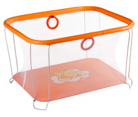 Манеж Qvatro Солнышко-02 мелкая сетка  оранжевый (winnie pooh)