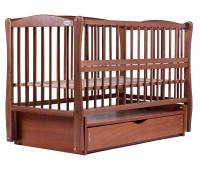 Кровать Babyroom Елит резьба маятник, ящик, откидной бок DER-7 бук тик