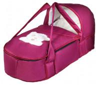 Люлька-переноска Babyroom BLA-056 с твердым дном аппликация  бордо (мордочка мишки штопаная)