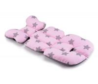 Матрас в коляску и автокресло Cottonmoose Air 828/27/99 pink star cotton jersey siatka szara (розовый (звезды), серая сетка)