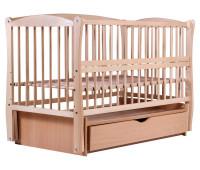 Кровать Babyroom Елит маятник, ящик, откидной бок DEMYO-5 бук светлый (натуральный)