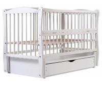 Кровать Babyroom Елит резьба маятник, ящик, откидной бок DER-7 бук белый