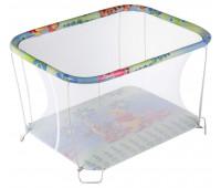 Манеж Qvatro Classic-02 мелкая сетка  голубой (цветы, тигра и винни пух)