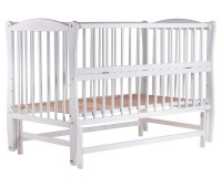 Кровать Babyroom Елит резьба, маятник, откидной бок DER-6 бук белый