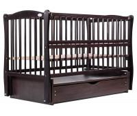 Кровать Babyroom Елит резьба маятник, ящик, откидной бок DER-7 бук венге