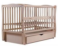Кровать Babyroom Елит резьба маятник, ящик, откидной бок DER-7 бук слоновая кость