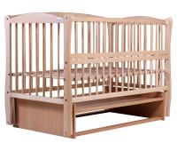 Кровать Babyroom Елит резьба, маятник, откидной бок DER-6 бук светлый (натуральный)